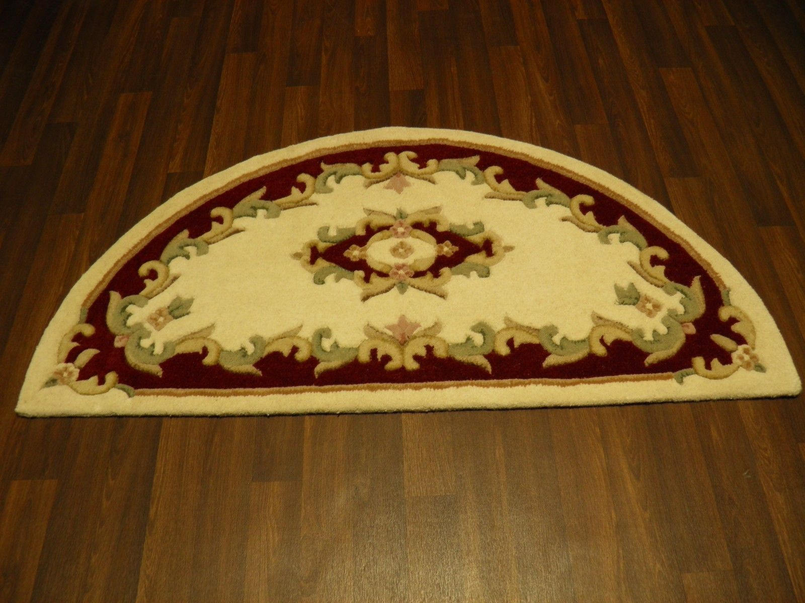 Half Moon 100 Wool Rugs New Super Thick Pile 67cmx137cm Cream Red Lovley Rugs