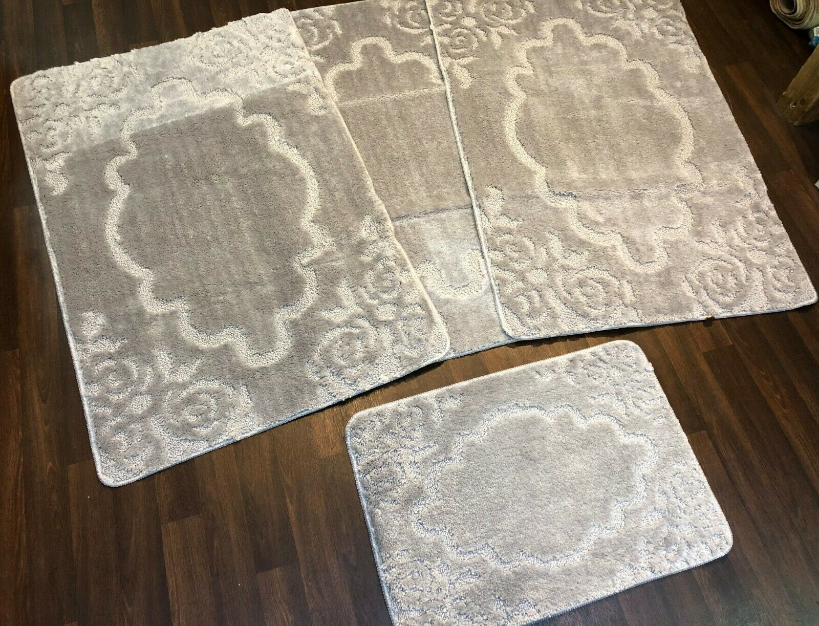 ROMANY WASHABLES GYPSY MATS 11MM 4PC SET NON SLIP SILVER CARPETS//RUGS RUGS