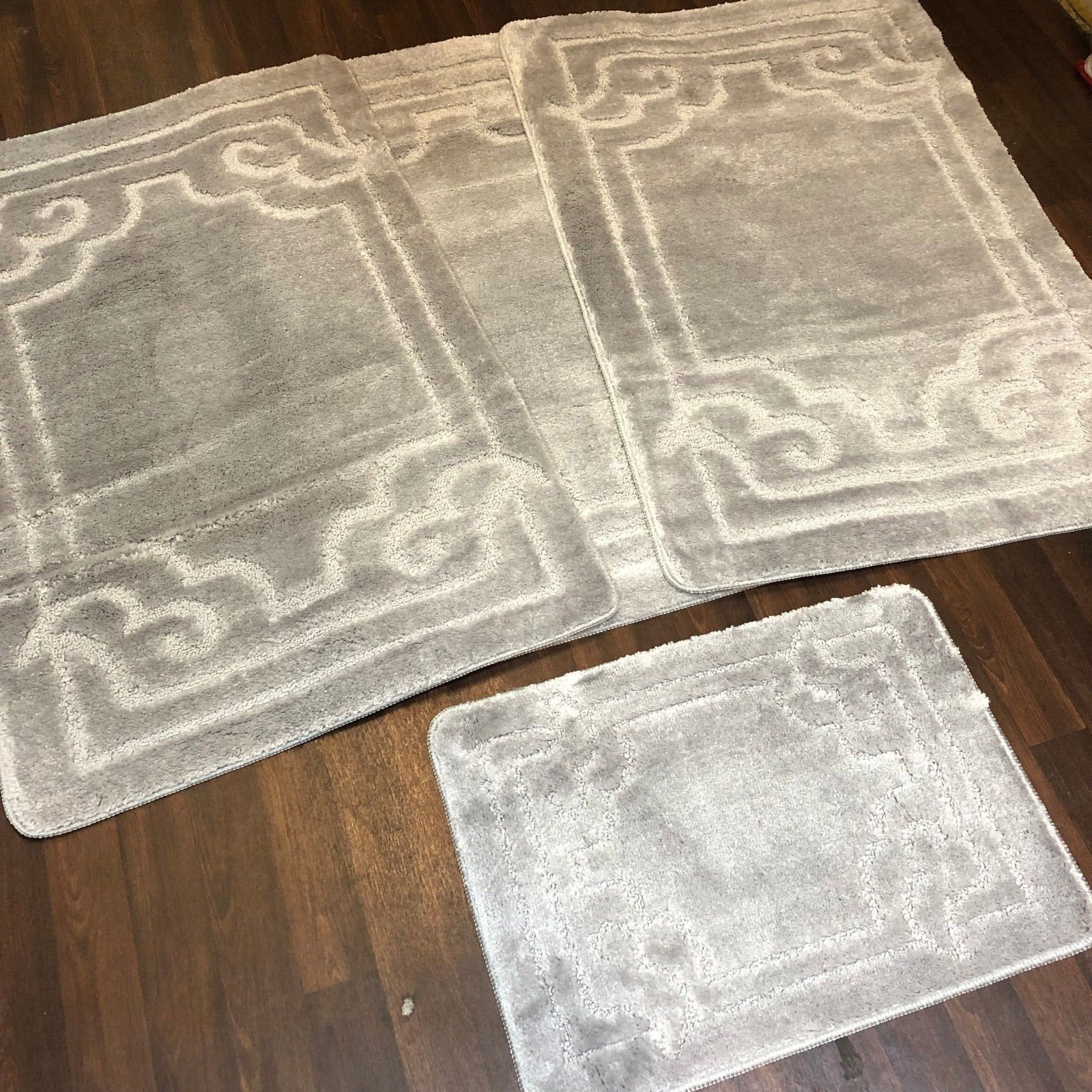 ROMANY WASHABLES GYPSY MATS 4PC SETS NON SLIP GERMAN BOARDER SILVER GREY CARPETS